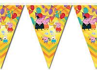 Гирлянда-флажки Свинка Пеппа на День рождения в стиле Свинка Пеппа
