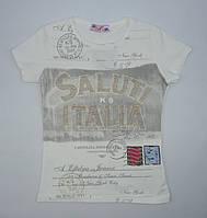 Качественная трикотажная  футболка для девочки 6-13 лет