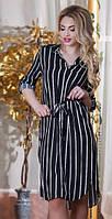 Асимметричное женское платье-туника в полоску под пояс с разрезами по бокам батал Турция