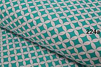 Ткань с сеткой из лепестков зелёно-бирюзового цвета (№224а)