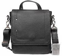 Мужская кожаная сумка мессенджер с ручкой 19x21x7см.