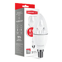 Светодиодная LED лампа MAXUS  свеча 6W яркий свет  Е14