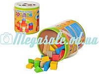 Деревянная развивающая игрушка конструктор городок: 50 деталей + пластиковая крышка-сортер