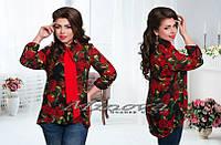 Нарядная блуза с удлиненным задом креп-шифон в розы Размеры 50,52,54,56