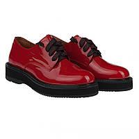Модные туфли на шнурках от Twenty Two (комфортные, лаковые, красного цвета)