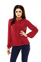 Блуза женская шифоновая с длинным рукавом - Бордовый