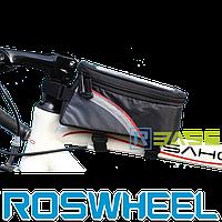 Велосипедная сумка на раму для смартфона Roswheel S Красная полоска