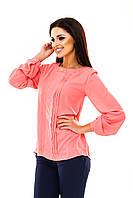 Блуза женская шифоновая с длинным рукавом - Коралловый