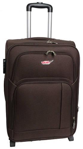 Тканевый двухколесный чемодан среднего размера 65 л. Suitcase 913754-brown коричневый