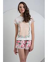 Трикотажная женская пижама с цветочным узором и кружевными рукавами LNP 027/001 ELLEN