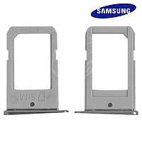 Держатель SIM-карты для Samsung Galaxy S6 EDGE G925F, оригинал (черный)