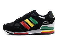 Кроссовки мужские Adidas ZX750 Black Rinbow  беговые замша оригинал