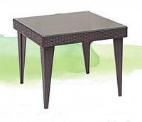 Столик из искусственного ротанга квадратный, 90*90 см, стекло, черный/беж/коричневый