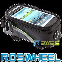 Велосипедная сумка на раму для смартфона Roswheel L Зеленая полоска