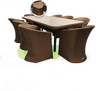 Набор мебели из искусственного ротанга для вашего дома Тоскана: 8 кресел, стол, столешница стекло
