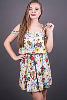 САРАФАН ДАРИАН ((ЦВЕТЫ), молодежный летний, ткань штапель индонезия, свободный крой, юбка солнце, 44-50 размер