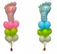 Букет-фонтан из шаров на Выписку девочки или мальчика