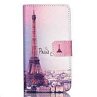 Чехол книжка для LG Leon H324 Y50 боковой с отсеком для визиток, Париж и Эйфелева башня