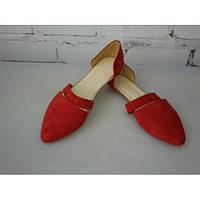Открытая балетка из красной замши