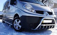 Кенгурятник (кенгурин) Renault Trafic (Рено Трафик), нерж, с надписью