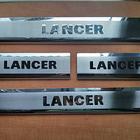 Накладки на пороги на Мицубиси Ланцер-10 (нерж) 4-штуки OMCARLINE.