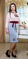 Оригинальное Платье Миди с Орнаментом Розово-Голубое XS-XL