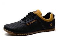 Спортивные мужские туфли Columbia EXC, кожа с перфорацией, черные, фото 1