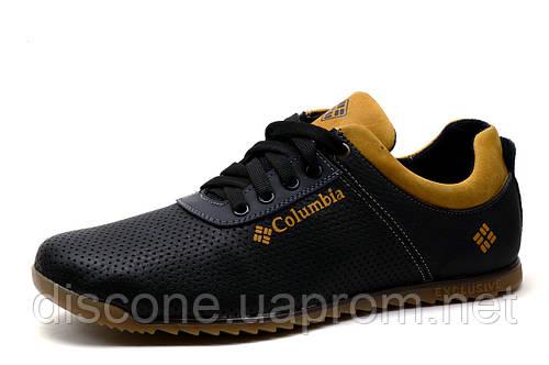 Спортивные мужские туфли Columbia EXC, кожа с перфорацией, черные