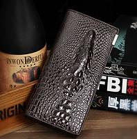Кожаный женский кошелек с 3D изображением крокодила Акция! Есть разные цвета