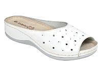 Кожаные женские белые пантолеты шлепанцы на платформе, ортопедическая стелька Inblu