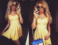 Лимонное платье с юбкой - солнце