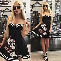 """Эффектное женское платье на косточках с чашками """"С яркой вышивкой"""" 42-60р"""