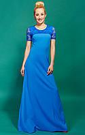 Длинное стильное платье небесного цвета