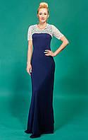 Тёмно-синее праздничное длинное платье
