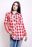 Удлиненная женская рубашка в клетку из фланели красно белая с джинсовой отделкой