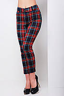 Укороченные узкие темно синие женские брюки в красную клетку из французского трикотажа