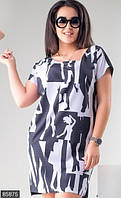 Черно-белое женское платье мини прямого кроя с модным принтом рукав короткий стрейч коттон батал
