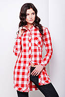 Удлиненная женская туника-рубашка в клетку из фланели красно белая