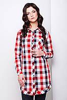 Длинный женский блузон рубашечного кроя из хлопка в красную и синюю клетку