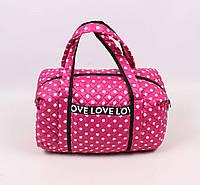 Стильная стеганая сумка Love в горошек, малиновый