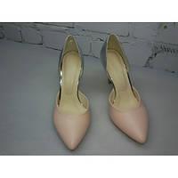 Туфли на каблуке в натуральной коже в цвете пале и серебро