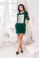 Летнее платье со вставками на рукавах из сетки