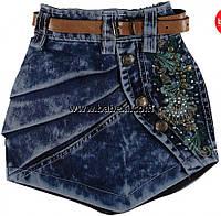 Модная джинсовая юбка с поясом для девочек 2,3,4,5 лет 97487