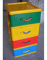 Комод пластиковый мини на 4 ящика СТИЛЬ цветной