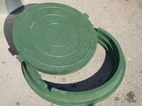 Люк канализационный полимерпесчаный легкий зеленый до 5 тонн