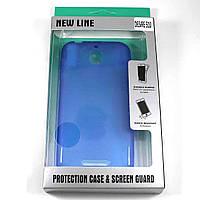 Чехол-крышка для HTC Desire 510 Синий New Line + плёнка