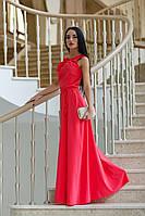 Красивое Макси Платье Свободного Силуэта Коралловое S-XL