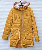 Демисезонная куртка парка для девочки 6-14 лет RedBlack желтая