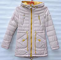 Демисезонная куртка парка для девочки 6-14 лет RedBlack бежевая