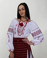 Женская вышитая блуза крестиком на белом хлопке